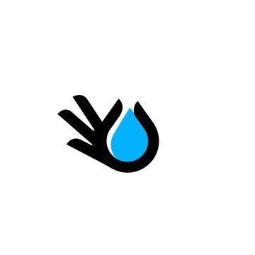 hand gesture water drop logo vector icon illustration