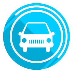 Car flat design blue web icon, easy to edit vector illustration for webdesign and mobile applications