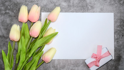 Card with tulips and gift.