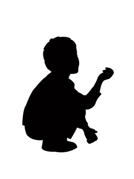 child sitting and raised hand, asking money, silhouette vector