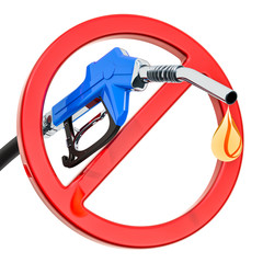 Gas pump nozzle with forbidden sign, 3D rendering