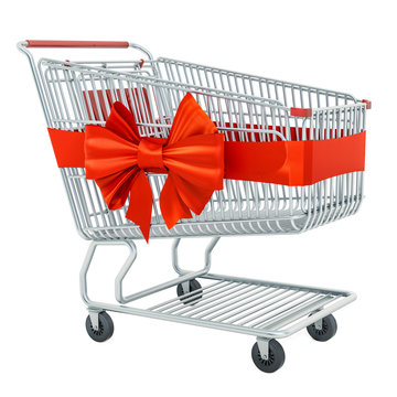 Shopping cart with red ribbon and bow, 3D rendering