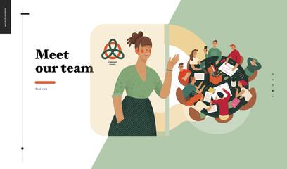 Technology 2 -Meet our team - modern flat vector concept digital illustration team metaphor, company presentation. Business workflow and team management Creative landing web page design template