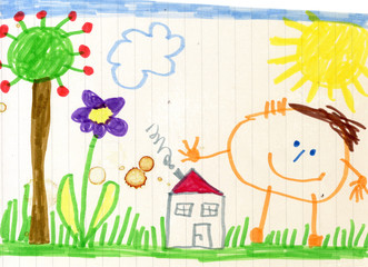Child's drawing, happy child, house and garden