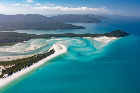 Whitehaven Beach and Hill Inlet river meanders, Whitsunday Islands, Queensland, Australia, Oceania
