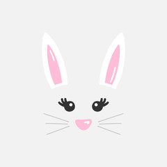 Cute easter bunny vector illustration, hand drawn face of bunny. Ears and tiny muzzle with whiskers. Isolated on grey background.