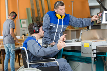 disabled worker in factory