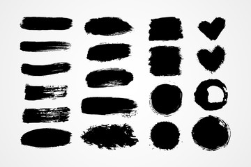 Hand drawn set brush strokes