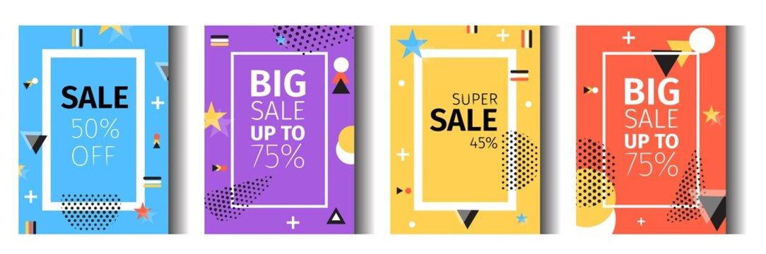 Vector Illustration Geometric Sale 50 Percent Off.