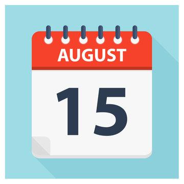 August 15 -  Calendar Icon - Calendar design template