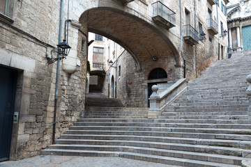 San Domenec Street,Typical corner of the old quarter of Girona, Catalonia, Spain