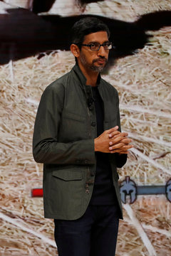 Google CEO Pichai speaks on stage during a keynote address announcing Google's new cloud gaming service Stadia at the Game Developers Conference in San Francisco