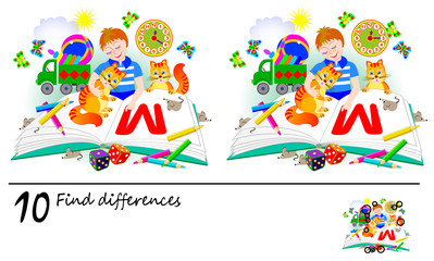 Logic puzzle game for children and adults. Need to find 10 differences. Printable page for baby brainteaser book. Illustration of reading boy. Developing skills for counting. Vector cartoon image.
