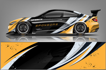 Fototapete - sport Car decal wrap design vector. Graphic abstract stripe racing background kit designs for vehicle, race car, rally, adventure and livery - Vector