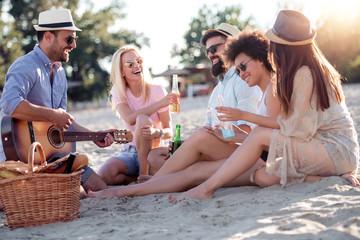 Group of joyful friends on the beach
