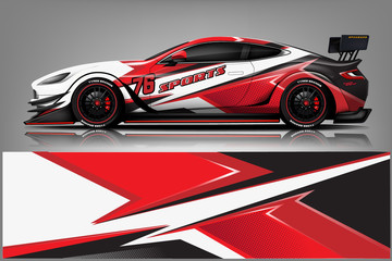 Fototapete - sport Car decal wrap design vector.Graphic abstract stripe racing background kit designs for vehicle, race car, rally, adventure and livery - Vector