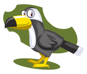 Yellow Nose crow, vector color illustration.