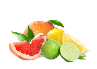 Set of different juicy citrus fruits on white background