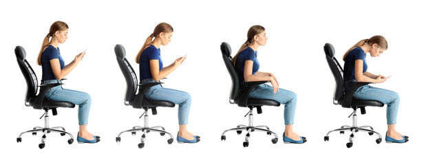 Collage of woman sitting on chair against white background. Posture concept