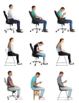 Collage of people sitting on chairs against white background. Posture concept
