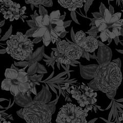Black background. Flowers. Seamless vector background. Vintage illustration.