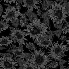 Black background. Sunflowers. Vector illustration in vintage style. Seamless background.