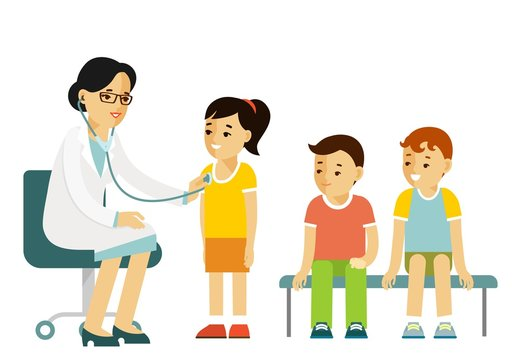 Pediatrician doctor concept. Young woman practitioner and happy children in flat style isolated on white background. Doctor doing medical examination of group of kids with stethoscope. Consultation