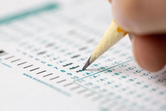 Standardize testing multiple choice closeup