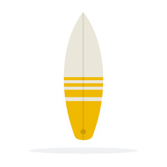 Surfboard vector flat material design isolated object on white background.