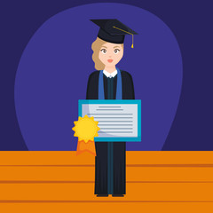 young student graduated girl with diploma