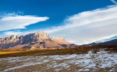 Mountains of the North Caucasus, mountain tops in clouds. Wild nature