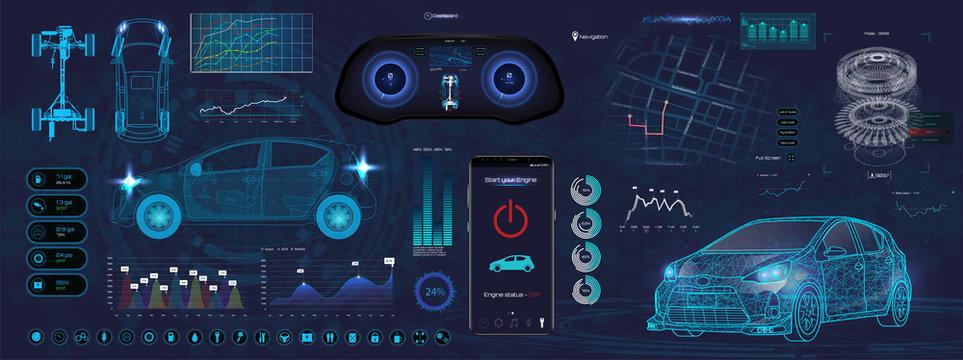 Application Elements for Car, Futuristic style (HUD). Ui,UX, Kit. Set Elements for mobile app, dark color, dashboard, navigation & 3d model. Template smartphone application. Vector elements set HUD UI
