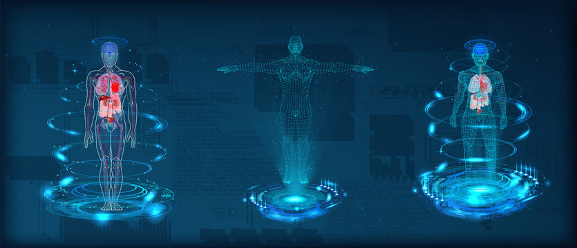 Human body low poly wireframe. Futuristic scan set, human hologram, body x-ray, 3d model in HUD style. Polygonal wireframe mesh with scattered particles and light effects on dark background. Vector