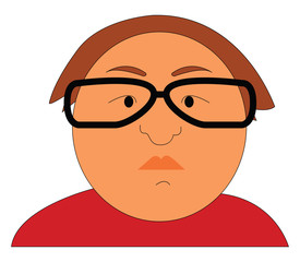Portraite of a fat man with black eyeglasses vector illustration on white background
