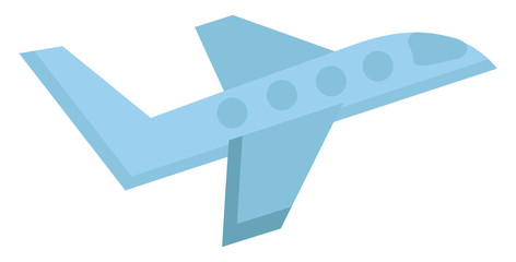 Simple drawing of blue airplane illustration color vector on white background