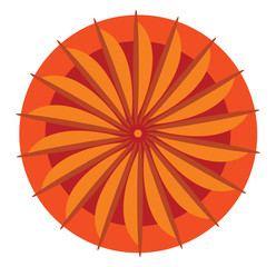 Orange mandala for spiritual practice vector or color illustration