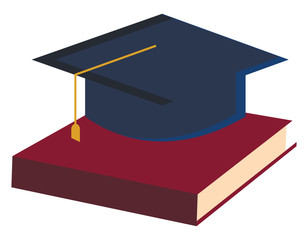 Education with book and graduation hat vector or color illustration