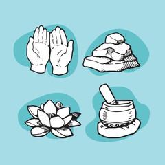Hand-Drawn Buddhism Meditation Icons
