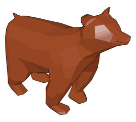 A brown bear toy vector or color illustration