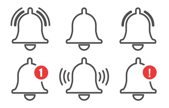 Notification bell outline icons set