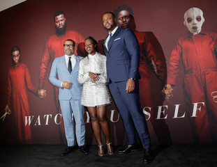 "Director Peele, and actors Nyong'o and Duke attend the ""Us"" premiere at The Museum of Modern Art in New York City, New York"