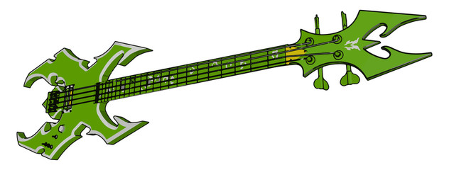 A guitar with four string picture vector or color illustration