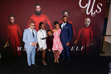 """Director Peele, cast members Nyong'o, Alex, Wright Joseph, and Duke attend the """"Us"""" premiere at The Museum of Modern Art in New York City, New York"""