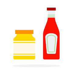 Bank of mustard and ketchup Bank vector flat isolated