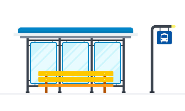 Public bus stop vector flat material design isolated object on white background.