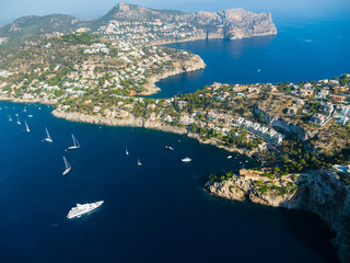 Spain, Baleares, Mallorca, Aerial view of Port d'Andratx, cliff coast