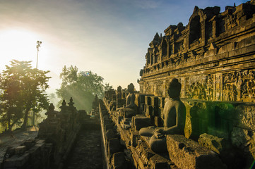 Indonesia, Java, Borobudur Temple Complex in early morning light
