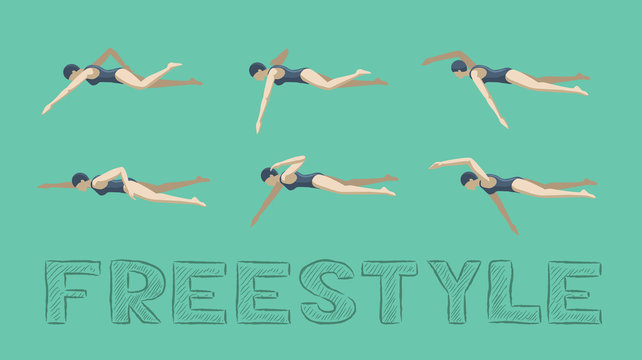 Swimming Style Freestyle Motion Sequence Woman Animation Set