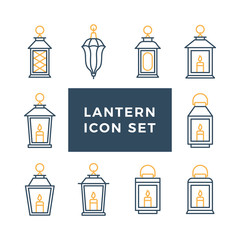 Ramadan vintage lantern set. Islamic antique lamp or light, muslim traditional line art. Vector flat style illustration isolated on white background