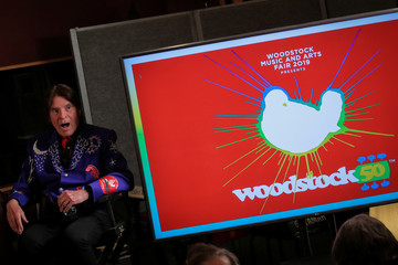 Singer John Fogerty speaks during the announcement event for the lineup for the Woodstock 50th Anniversary concert in New York